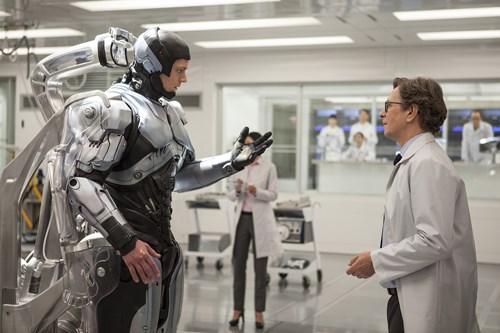 "Joel Kinnaman, left, and Gary Oldman star in Columbia Pictures' ""Robocop."""