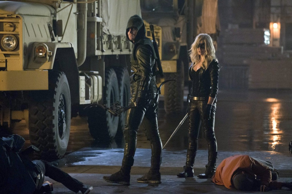 Those-without-leather-need-not-apply.-Ollie-Stephen-Amell-and-Black-Canary-Cathy-Loitz-kick-butt-in-Crucible